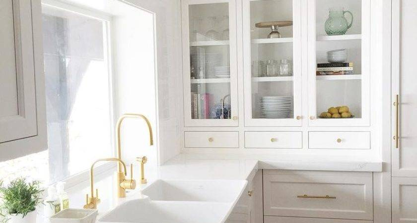 White Kitchen Cabinets Gold Pulls Design Ideas