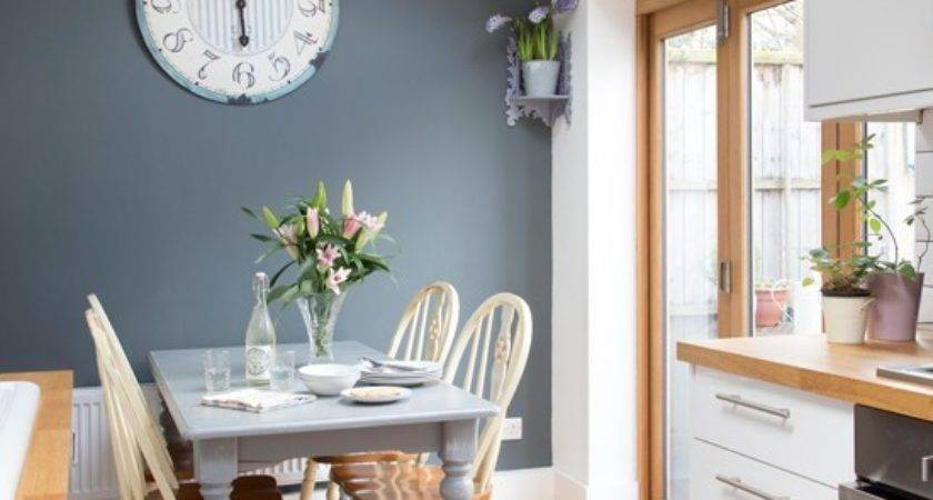 White Kitchen Grey Feature Wall Decorating