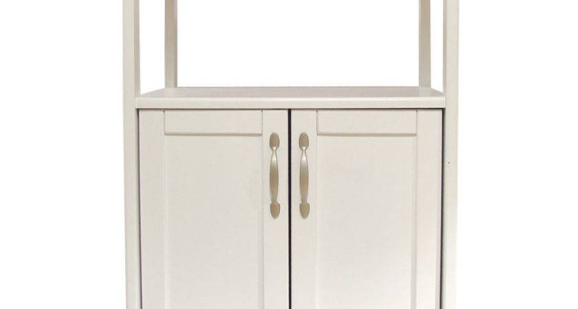 White Kitchen Trolley Lacquered Hardwood Top