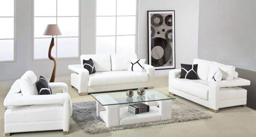 White Leather Sofa Arms Glass Top Table Small