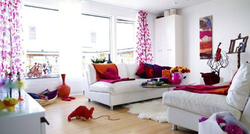 White Living Room Pink Orange Accents Awesome