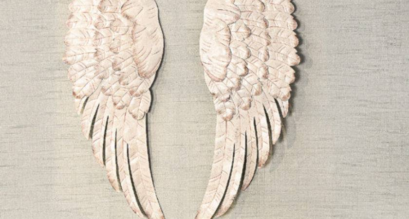 White Metal Angel Wing Wall Decor Set Ebay