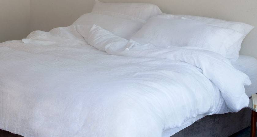 White Pure Linen Sheets Top Fitted Sets Italian