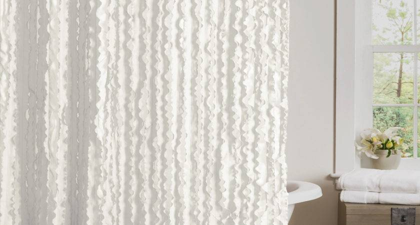 White Ruffle Shower Curtain Extra Long