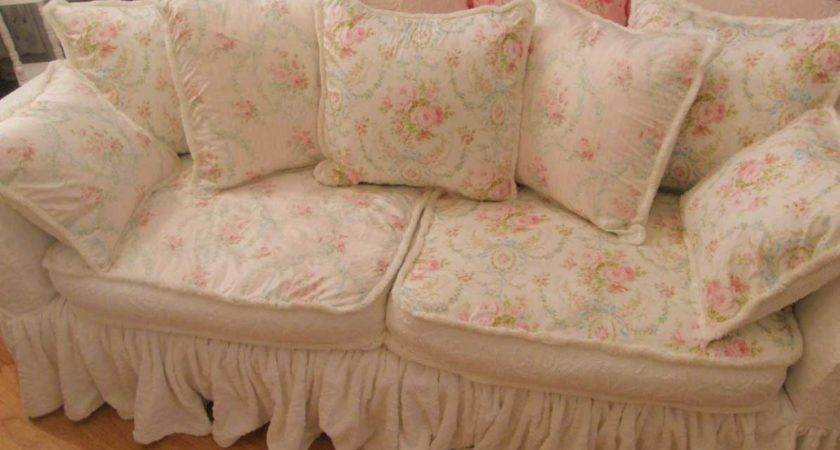 White Shabby Chic Sofa Slipcovers Pink Floral Design