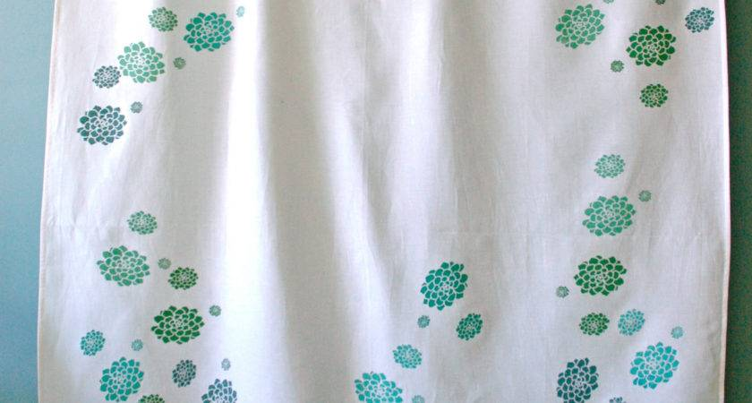 White Shower Curtain Green Teal Hens
