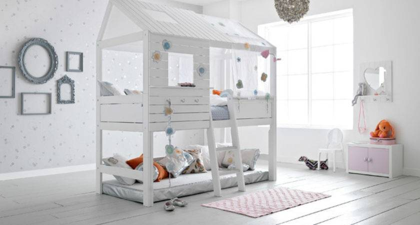 White Silversparkle Loft Treehouse Twin Bed Beach Style