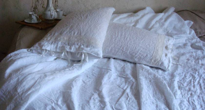 White Soft Linen Bedding Stonewashed Duvet Cover