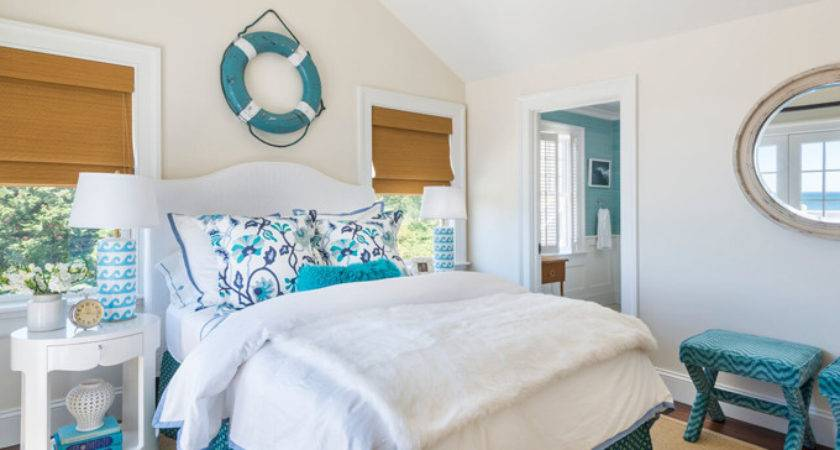White Turquoise Cottage Bedroom