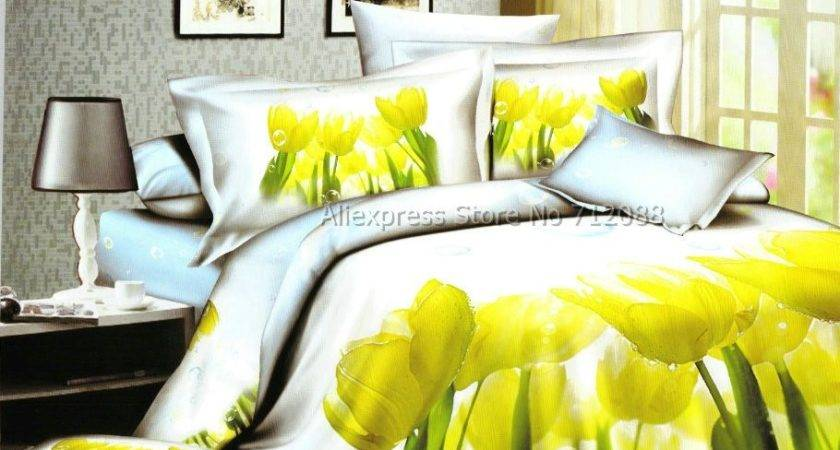 Wholesale Home Textile Bright Yellow Tulip Flower Floral