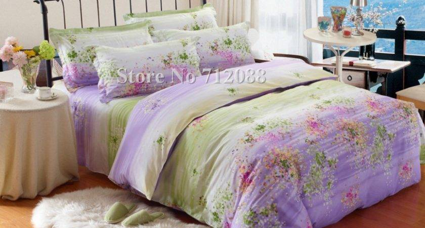 Wholesale Hot Selling Purple Green Flower Floral Bed