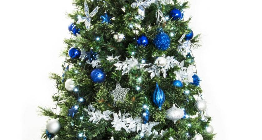 Width Live Christmas Tree Silver Blue Green