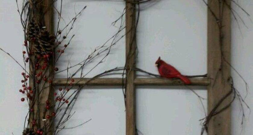 Window Frame Grapevine Wrapped Around Cardinal