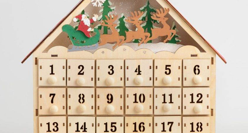 Wood Advent Calendar House Led Lights World Market
