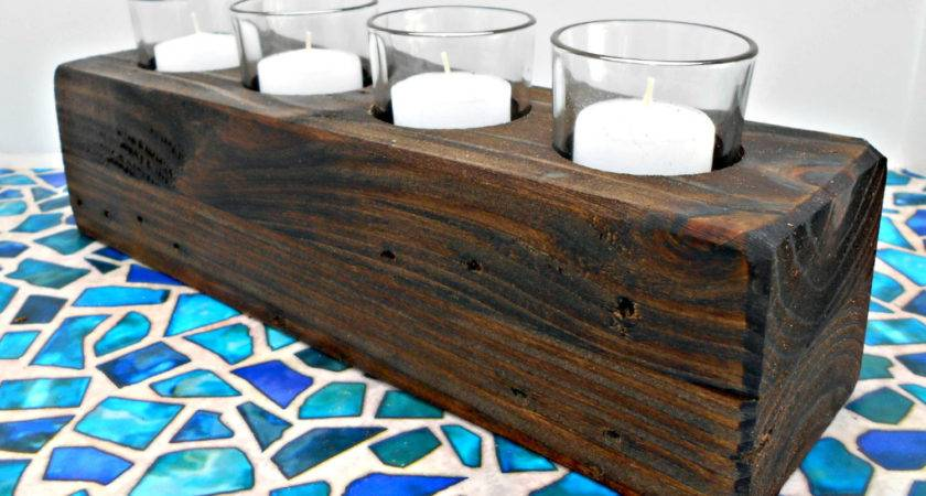 Wood Candle Holder Votive Candles Rustic