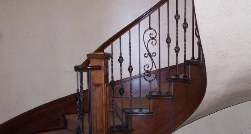 Wood Railing Wrought Iron Balusters Traditional