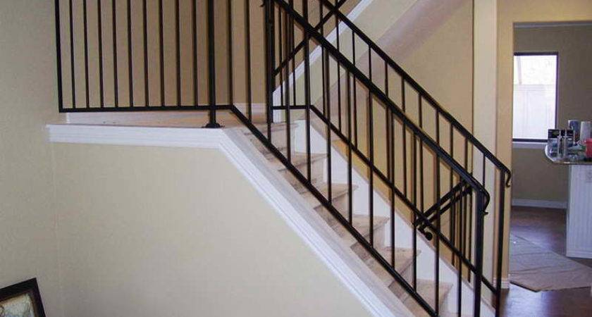 Wood Wrought Iron Stair Railing