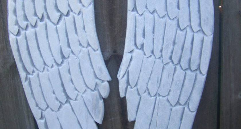 Wooden Angel Wings Distressed Grey White Pearl Sheen Wall