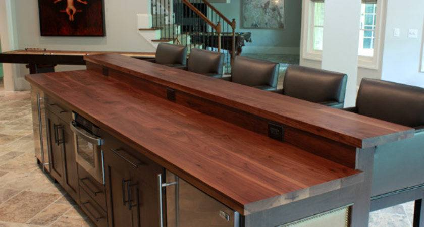 Wooden Kitchen Island Top Bar Contemporary