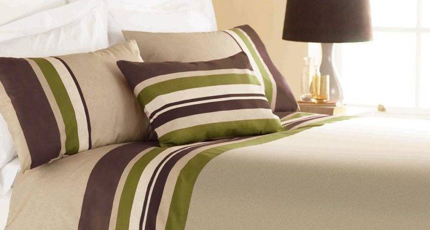 Yale Lime Green Brown Striped Print Duvet Cover