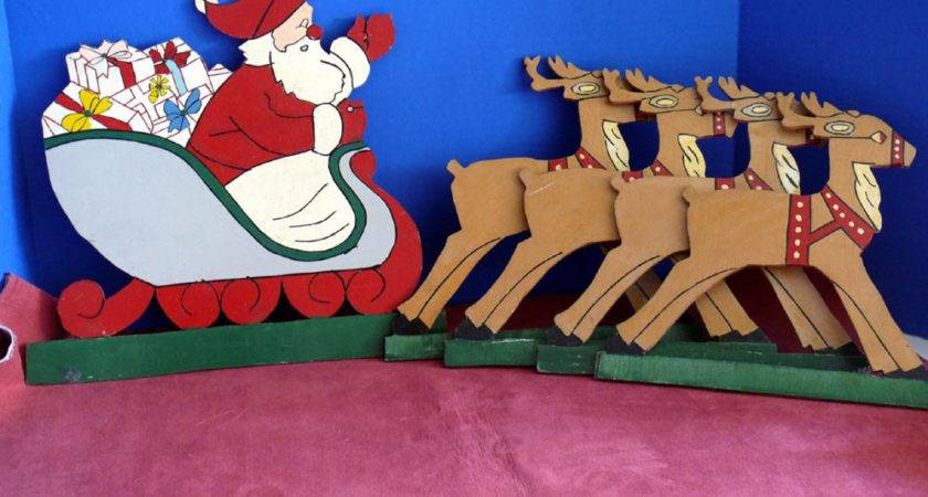 Yard Art Santa Claus Reindeer Plywood Cut Outs Plaques