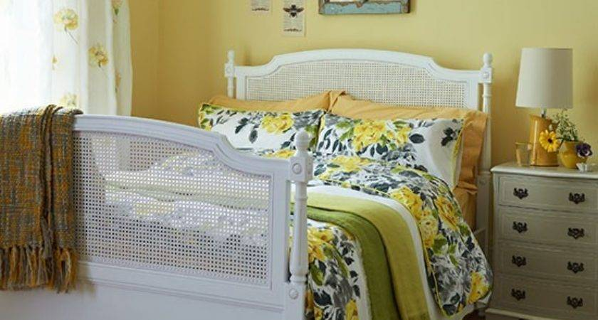 Yellow Bedroom White Cane Bed Florals