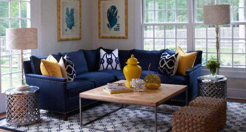 Yellow Blue Living Room Contemporary