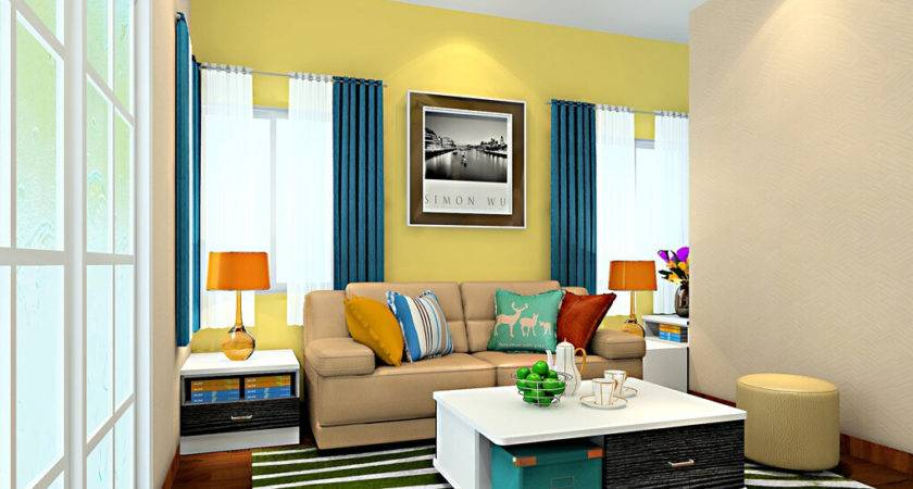 Yellow Blue Living Room Modern House