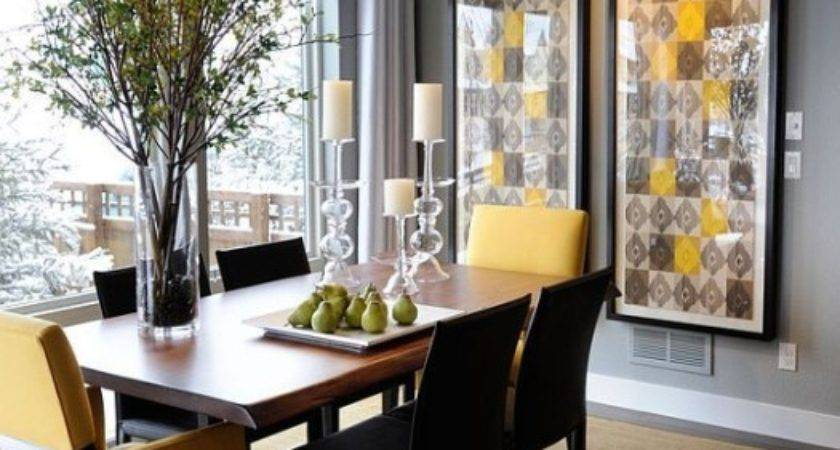 Yellow Brown Colors Modern Dining Room