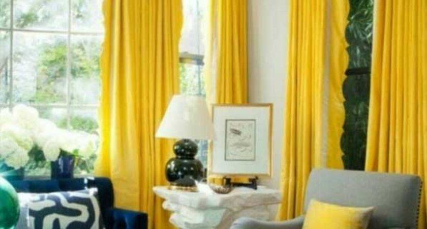 Yellow Curtains Living Room Grey