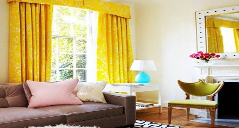 Yellow Curtains Living Room Peenmedia