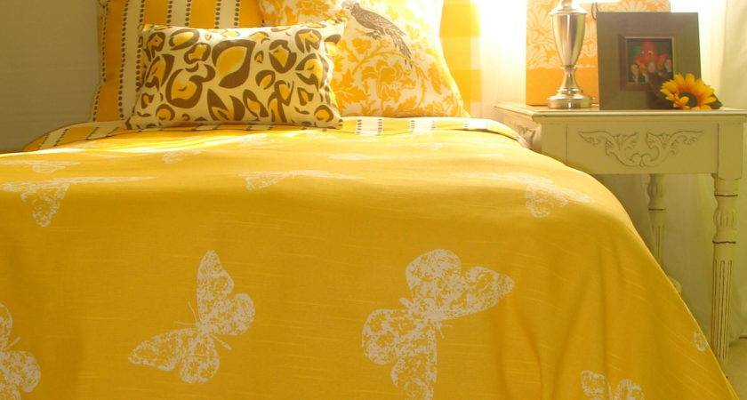 Yellow Custom Dorm Room Bedding Set Pewter Accents