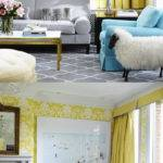 Yellow Duck Egg Blue Grey Living Room Interior Design