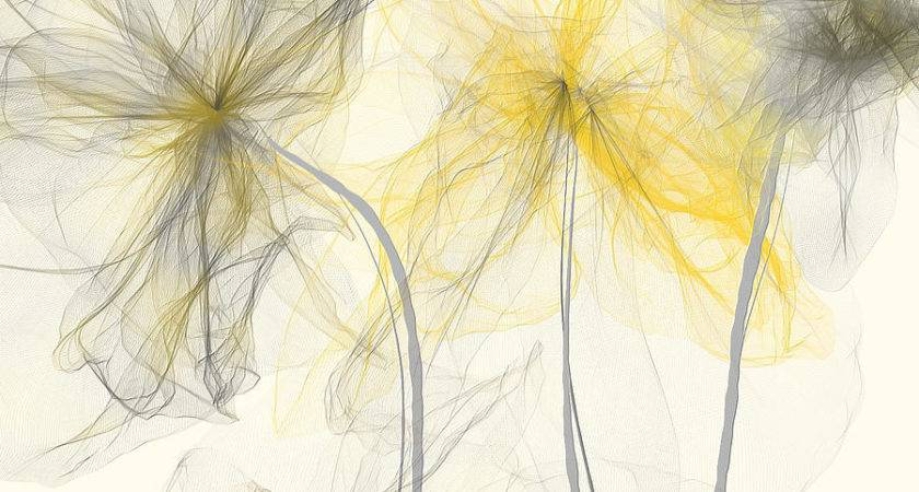 Yellow Gray Flowers Impressionist Painting Lourry