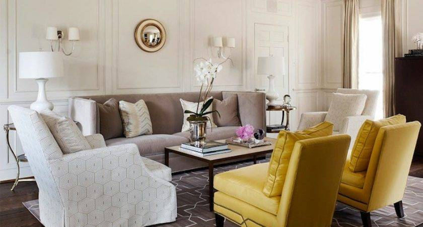 Yellow Gray Living Room Transitional