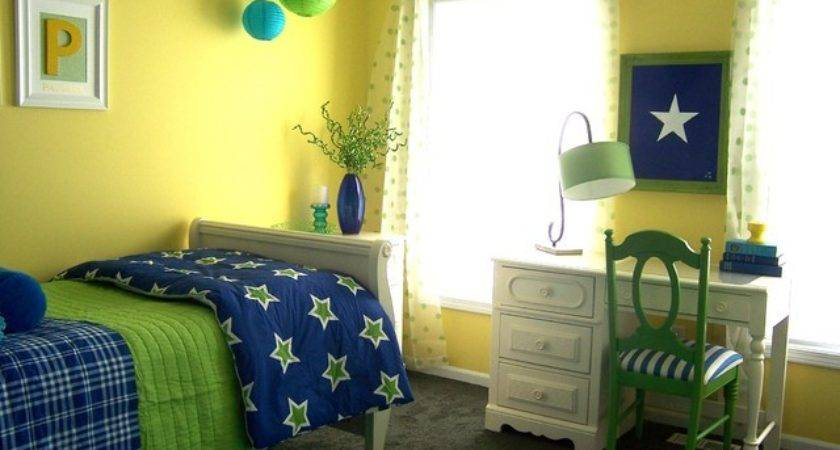 Yellow Green Blue Girl Bedroom Traditional Kids