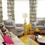 Yellow Grey Curtains Room Beach Area Rug