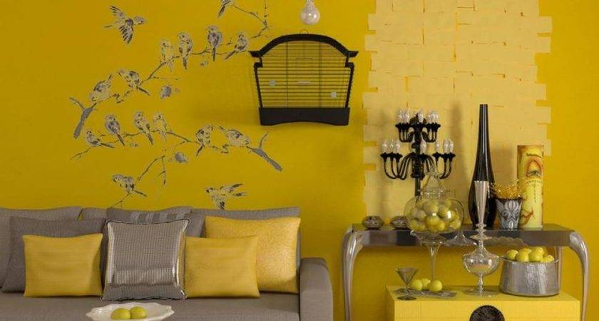 Yellow Living Room Interior Color Themes Bird Sticker