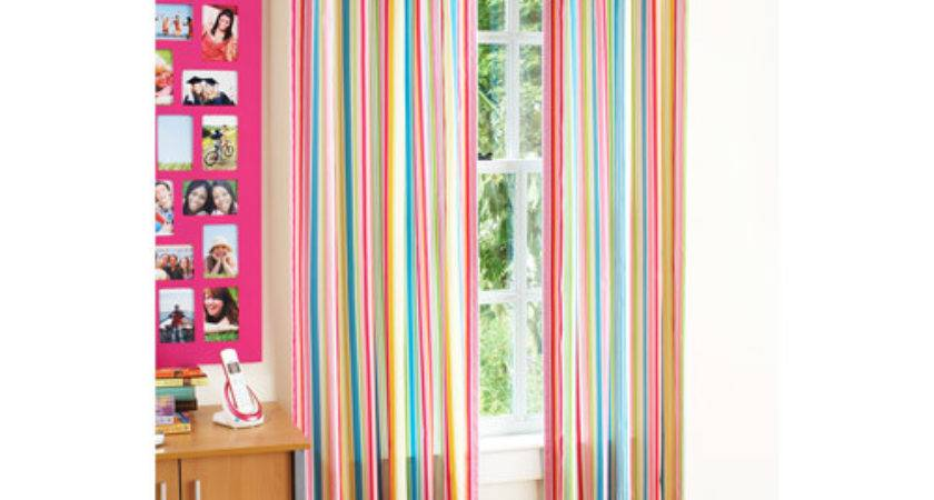 Your Zone Chino Curtains Set Bright Stripe