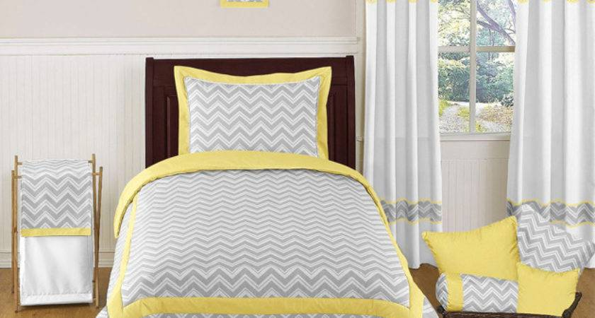 Zig Zag Yellow Gray Chevron Twin Bedding Collection