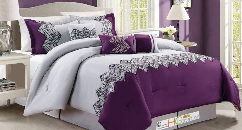 Zigzag Chevron Curved Embroidery Comforter Set Purple